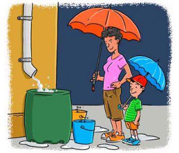 captando agua da chuva, kortesia caça vazamentos