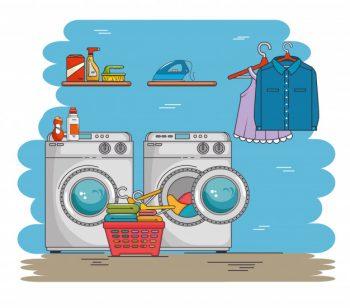 lavanderia com maquina de lavar roupa e roupas dicas para economizar kortesia
