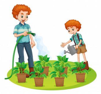 pai-e-filho-regando-as-plantas_ caça vazamentos kortesia